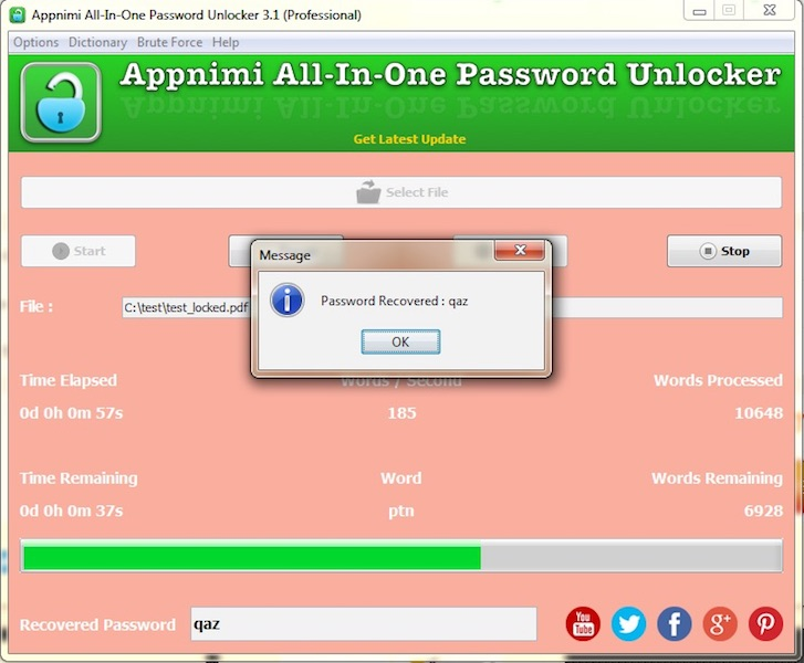 Appnimi All-In-One Password Unlocker Screen shot