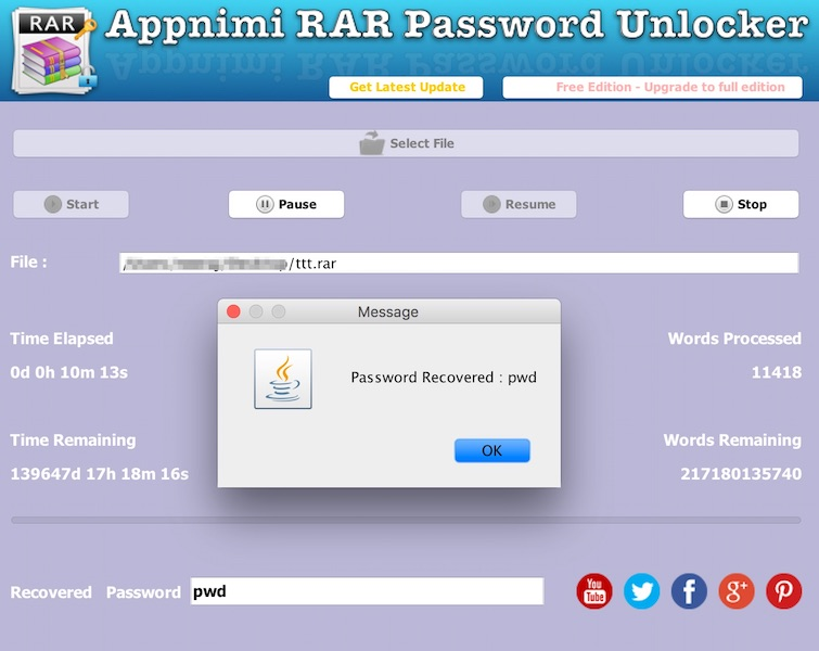 Appnimi RAR Password Unlocker for Mac full screenshot